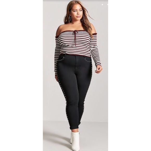25a2e7e3695 Tops | Plus Size Striped Off The Shoulder Crop Top Sz 2x | Poshmark
